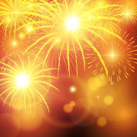 Bright festive fireworks explosion over background. Vector illustration