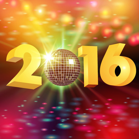 New Year 2016. Disco ball and lights isolted on background. Vector illustration 向量圖像