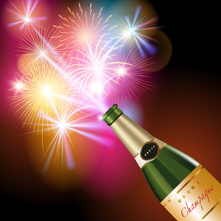 New Year fireworks and champagne. Vector illustration 向量圖像