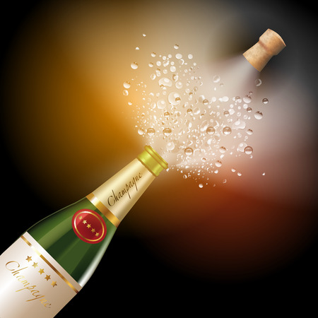 uncork: Bottle of champagne explosion isolated on background. Vector illustration