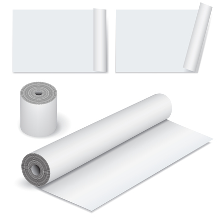 rolled: Collection of various scroll paper isolated on white. Vector illustration