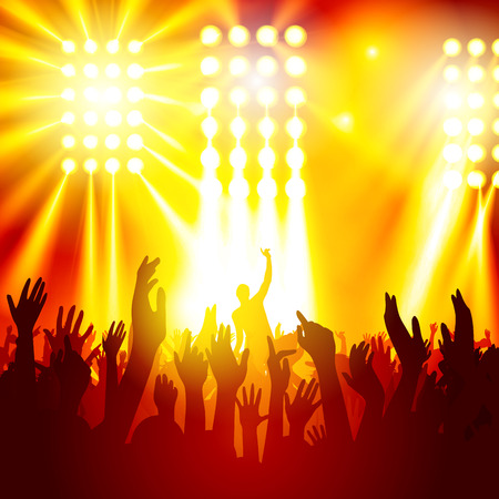 Rock concert, silhouettes of happy people raising up hands. Vector illustration Stock Illustratie