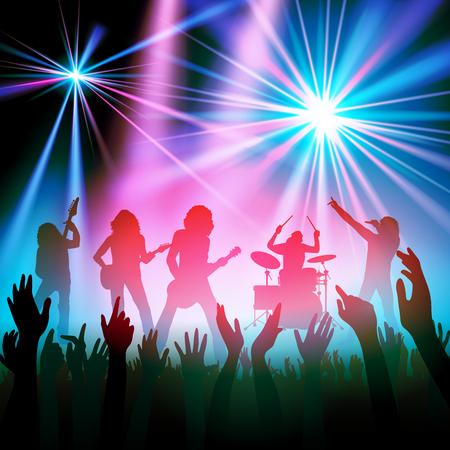 Rock-Band, die vor einem Publikum. Vektor-Illustration Illustration