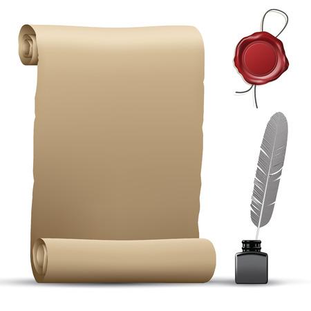 pluma de escribir antigua: rollo de papel usado, sello de cera y de la pluma aislados en blanco. ilustración vectorial