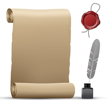 Old paper roll, wax seal and feather pen isolated on white. Vector illustration Vettoriali