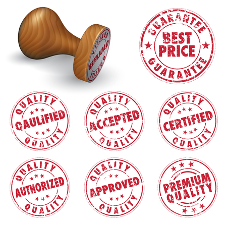 Collection of rubber stamps. Best price, qualified, accepted, approved, certified, authorized, premium quality. Vector illustration