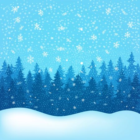 Winter landscape with trees and snow. Vector illustration