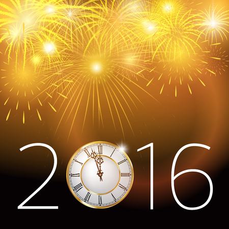 New Year's at midnight. Clock and fireworks isolted on background. Vector illustration