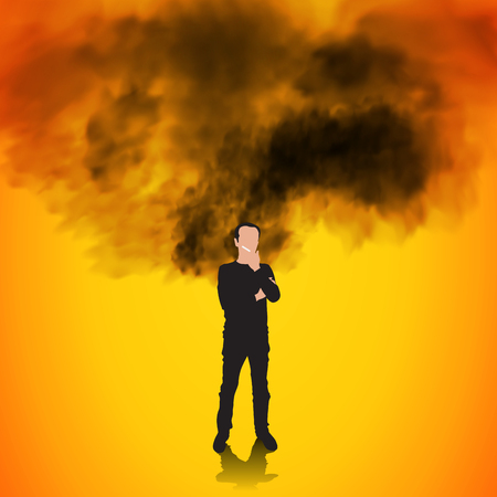 Addiction. Man smoking cigarette isolated on background. Vector illustration 向量圖像
