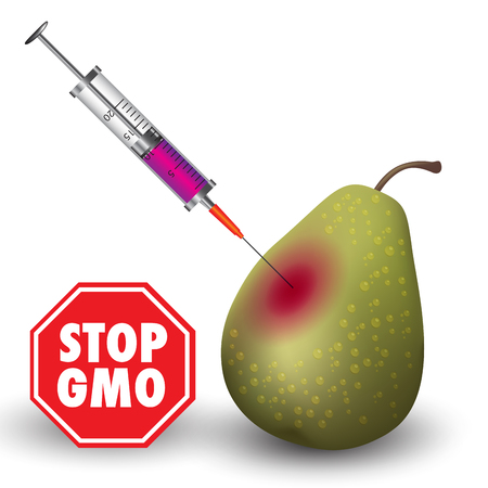 genetically modified crops: Stop genetic manipulated food engineering. Vector illustration