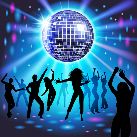 Silhouettes of a party crowd on a glowing lights background. Vector illustration Çizim