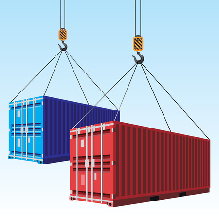 Cargo containers hoisted with hooks. Vector illustration