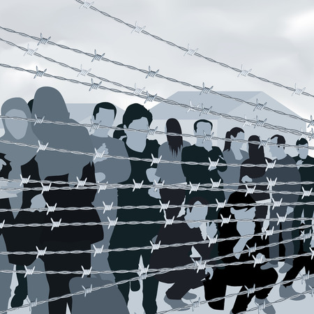 Refugees people behind barbed wire. Vector illustration Vettoriali