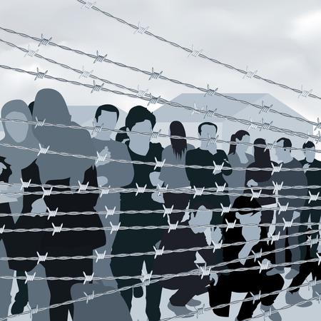 Uchodźcy ludzie za drutem kolczastym. ilustracji wektorowych Ilustracje wektorowe