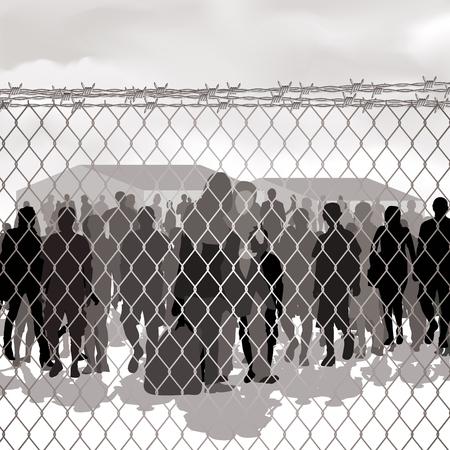 Réfugiés derrière grillage et de fil de fer barbelé. Vector illustration Vecteurs