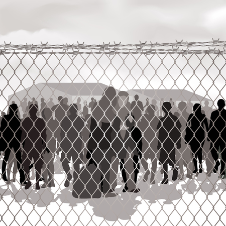 stateless: Refugees behind chain link fence and barbed wire. Vector illustration