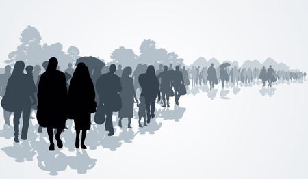 Silhouettes of refugees people searching new homes or life due to persecution. Vector illustration Çizim