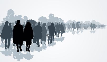 pobreza: Siluetas de los refugiados la gente que busca nuevas viviendas o la vida debido a la persecución. Ilustración vectorial