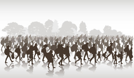 Silhouettes of refugees people searching new homes or life due to persecution. Vector illustration Ilustração
