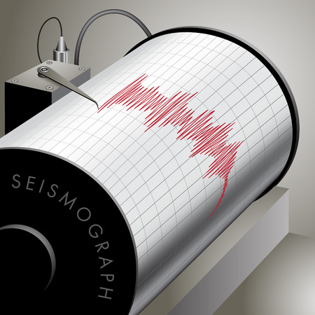 seismology: Seismograph recording ground motion during earthquake. Vector illustration