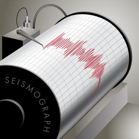 sismogr�fo: Sism�grafo grabaci�n movimiento del suelo durante el terremoto. Ilustraci�n vectorial