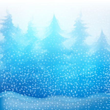 Winter background, landscape. Snowy forest. Vector illustration Stok Fotoğraf - 50268869