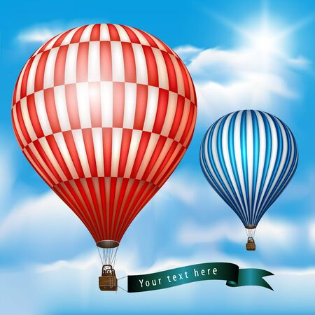 Hot air balloon with message on banner. Vector illustration isolated on sky. Vector Illustration