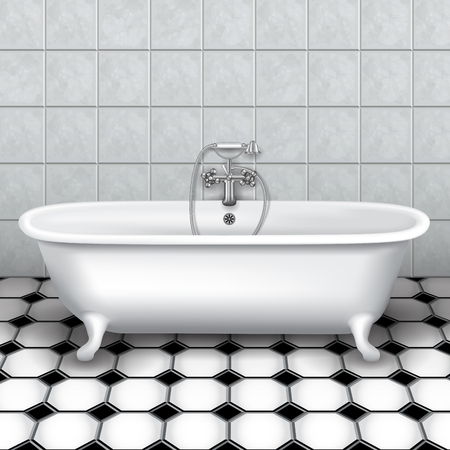 Retro bathtub in a tiled bathroom. Vector Illustration Çizim