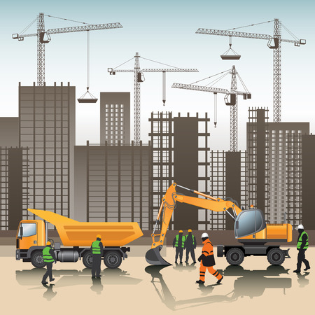 Construction site. Buildings under construction. Vector illustration