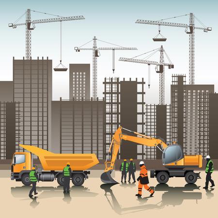 site: Construction site. Buildings under construction. Vector illustration