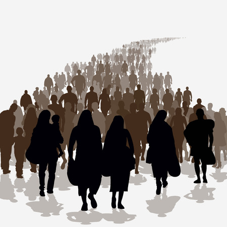 Silhouettes of refugees people searching new homes or life due to persecution. Vector illustration Иллюстрация