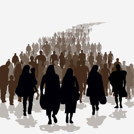 Siluetas de los refugiados la gente que busca nuevas viviendas o la vida debido a la persecución. Ilustración vectorial