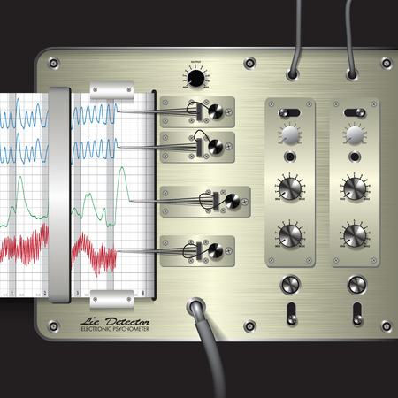 inquest: Closeup of a polygraph isolated on background. Vector illustration Illustration