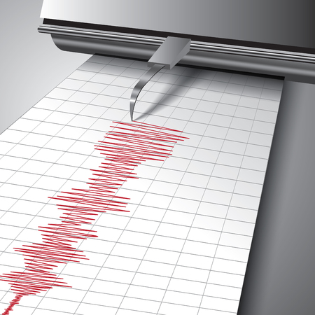 seismic: Seismograph recording ground motion during earthquake. Vector illustration