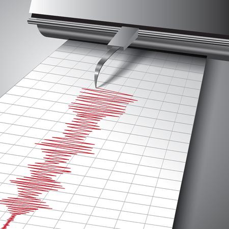 Sismografo registrazione moto del suolo durante terremoto. illustrazione di vettore Vettoriali