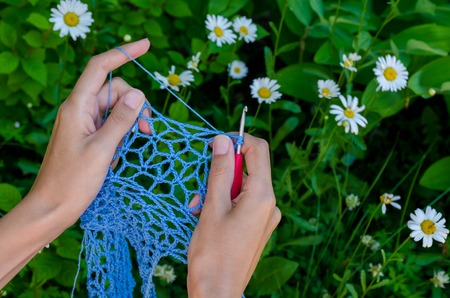 openwork: female hands crochet blue cotton yarn openwork fabric on a background of green grass and camomiles