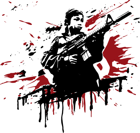 carbine: asian soldier Illustration
