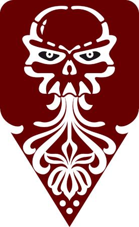 man with beard: icon skull Illustration