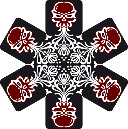 retro snowflake with skulls Vector