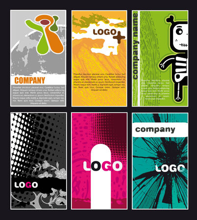 Collection vertical business cards Stock Vector - 4743091