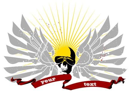 motorcycle rider: illustration flying skull background Illustration