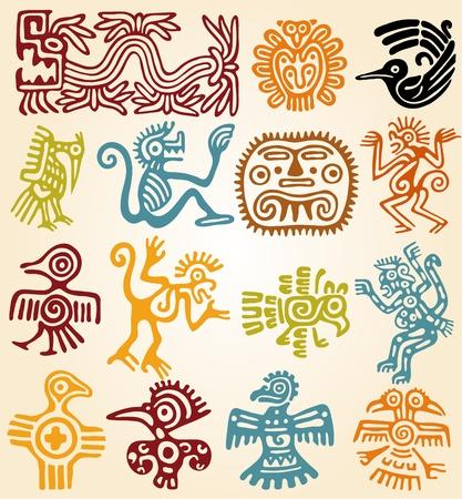 aztec art: Set - mexican symbols Illustration