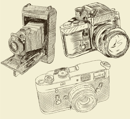 photo camera: Vintage cameras Illustration
