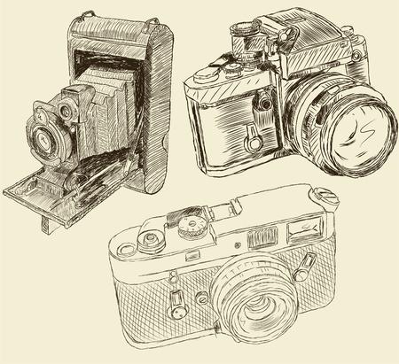 camera icon set: Vintage cameras Illustration