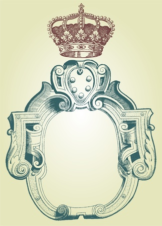 baroque room: Retro frame with crown