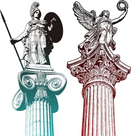 pilastri: Statue Mytologic Vettoriali