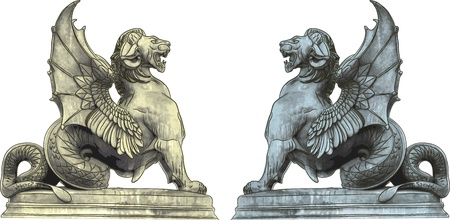 mythical: chimera statues
