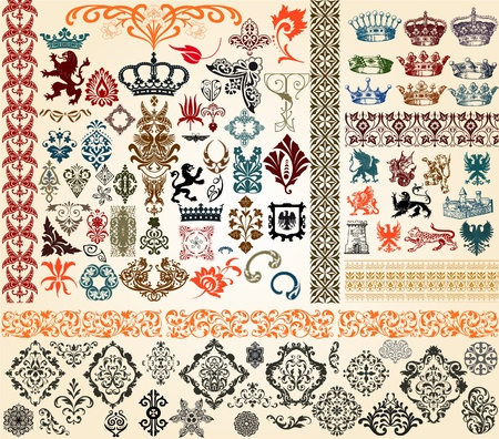 arabesque antique: design elements Illustration