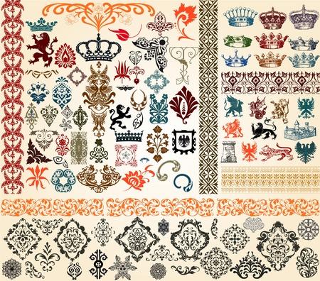 corona reina: elementos de diseño Vectores