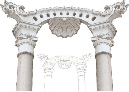 古典的なアーチおよび列のスケッチ  イラスト・ベクター素材